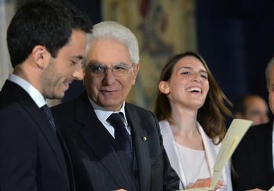 Il presidente Sergio Mattarella consegna i premi Leonardo (ANSA)
