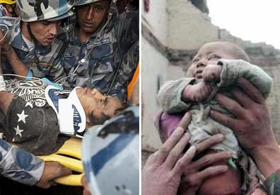Immagini dei superstiti ritrovati in Nepal sotto le macerie dopo giorni, un neonato ed un quindicenne (ANSA)