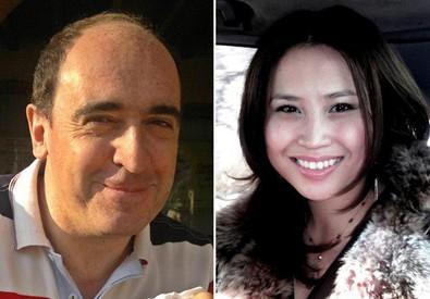 Sandro Abati e la compagna di origini kazake, entrambi uccisi nell'attacco ad una guesthouse di Kabul. (ANSA)
