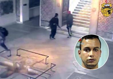 L'immagine dei terroristi che entrano all'interno del museo del Bardo, a Tunisi e, nel tondo, la foto di Touil Abdelmajid, il giovane marocchino arrestato a Gaggiano, nel Milanese, considerato uno degli esecutori della strage (ANSA)