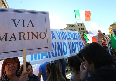 Incidente Roma: presidio Fdi-Noi con Salvini - Foto di Fabio Campana (ANSA)