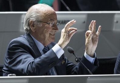 Il presidente della Fifa Joseph Blatter nel discorso di apertura del congresso della Fifa oggi a Zurigo (ANSA)