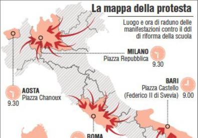INFOGRAFICA: Scuola, la mappa delle proteste (ANSA)