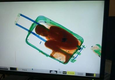 Il bambino sub-sahariano fotografato dallo scanner all'interno della valigia (ANSA)