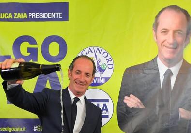 Luca Zaia festeggia la vittoria (ANSA)