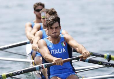 Giuseppe Vicino, Matteo Lodo, Matteo Castaldo e Marco di Costanzo in azione nella gara di Coppa del mondo a Lucerna l'11 luglio 2015 (ANSA)