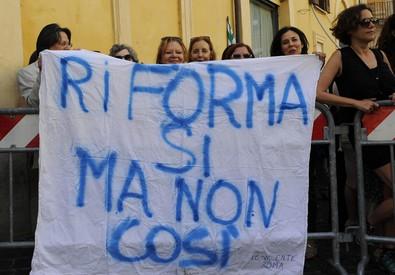 Le proteste sul ddl scuola (ANSA)