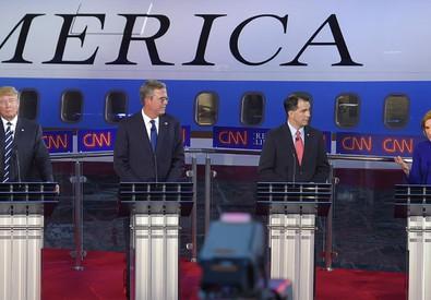 Carly Fiorina, Donald Trump, Jeb Bush, e Scott Walker (ANSA)