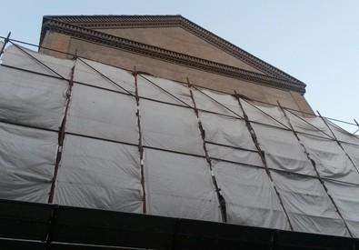 Lavori in corso nella Chiesa Santissima Trinita' di Potenza dove il 17 marzo 2010 fu ritrovato il  cadavere di Elisa Claps (ANSA)