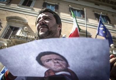 Matteo Salvini in una foto d'archivio durante una manifestazione di fronte a Montecitorio (ANSA)