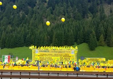 Presidio Coldiretti al Brennero (ANSA)