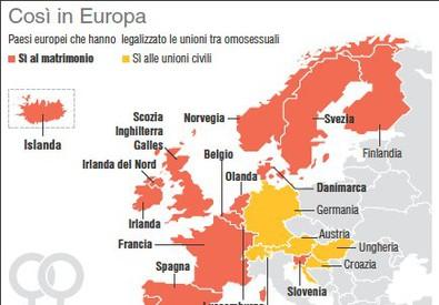 Unioni gay, così in Europa (ANSA)