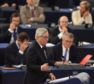 Jean Claude Juncker durante il suo discorso (ANSA)