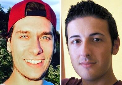 Le due vittime italiane dell'attentato a Barcellona, Luca Russo (a sinistra) Bruno Gulotta (ANSA)