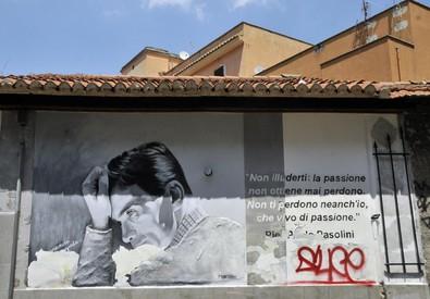 Un ricordo di Pasolini al Pigneto (ANSA)