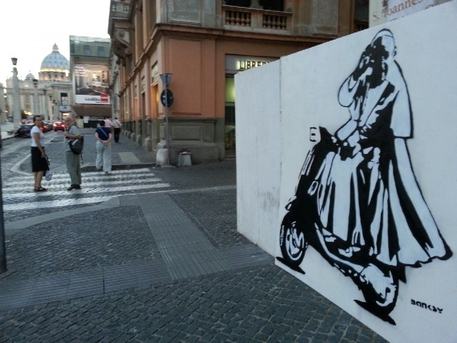 Joins Superpope Francis On A Bike Street Art In Rome