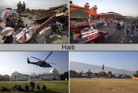 A confronto le immagini di Haiti colpita dal sisma e dell'isola oggi. Foto: AP/ANSA © ANSA