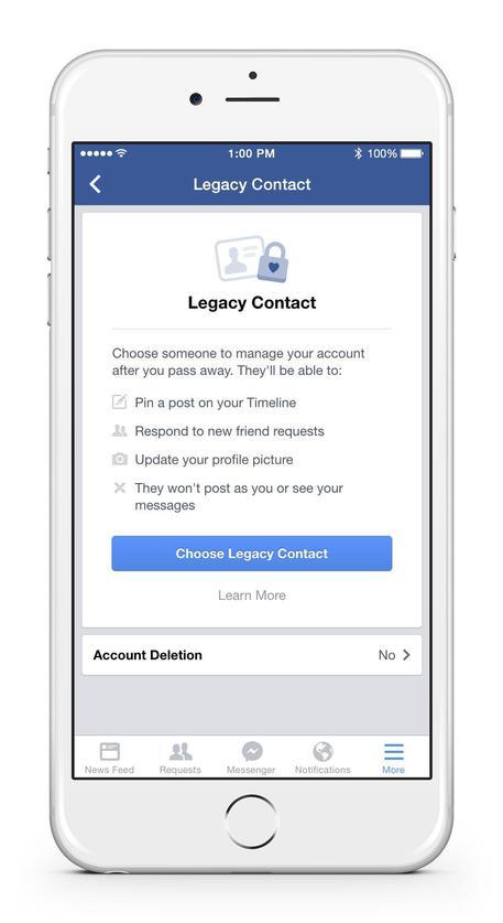 Facebook, profilo si lascia in eredità