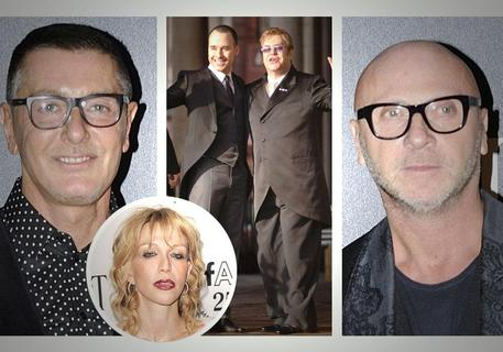 Dolce & Gabbana in una combo con Courtney Love, Elton John e il suo compagno David Furnish © ANSA