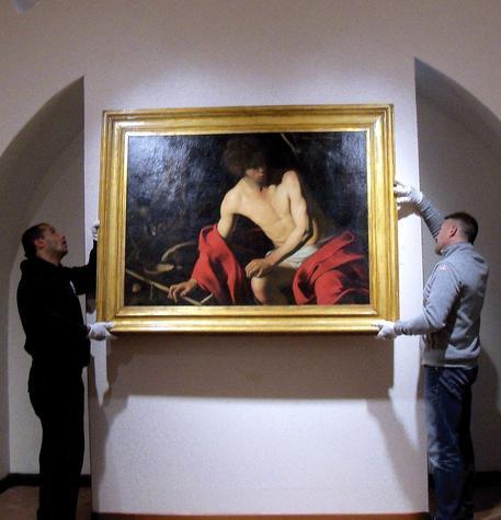 Il San Giovanni Battista di Caravaggio. E' stato prestato dalla Galleria Nazionale di Arte Antica in Palazzo Corsini a Roma © ANSA