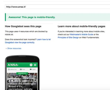 Nuovo algoritmo Google premia i siti mobile friendly © ANSA