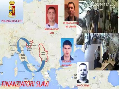 Una slide dell'inchiesta dell'operazione 'Dirty Soccer' mostra i volti dei finanziatori slavi coinvolti nella nuova vicenda di calcioscommesse che ha interessato la Lega Pro e Lega Nazionale Dilettanti © ANSA