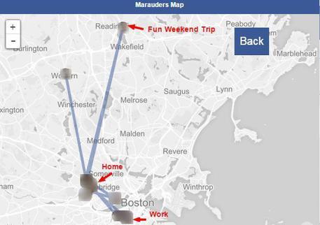 Una app dice dove sono amici di Facebook