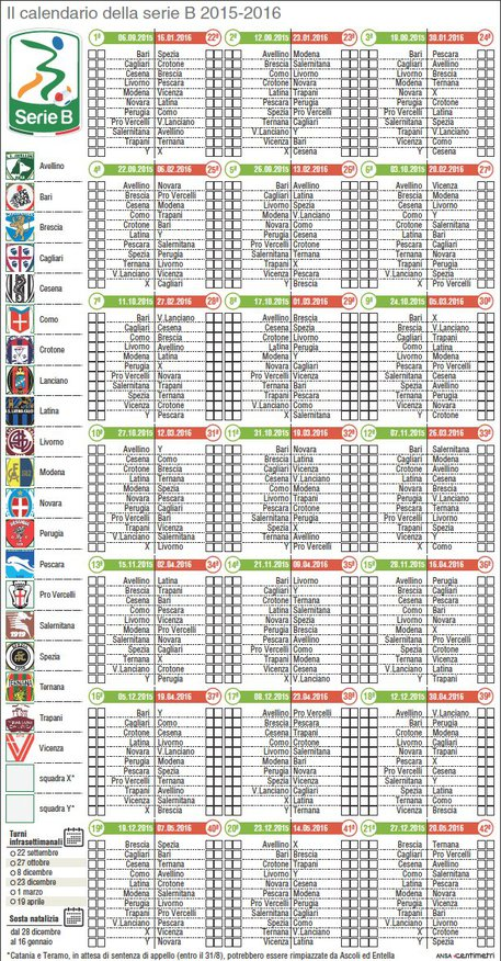 Calendario Di Serie B.Calendario Di Serie B 2015 2016 Calcio Ansa It