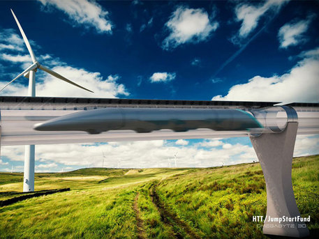 Progetto del treno del futuro Hyperloop (fonte: Hyperloop Transportation Technologies, HTT) © Ansa