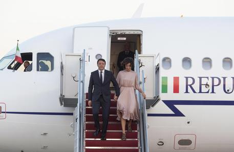 Matteo Renzi e la moglie arrivano a Washington © ANSA