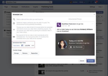 Facebook Live, dirette streaming programmabili