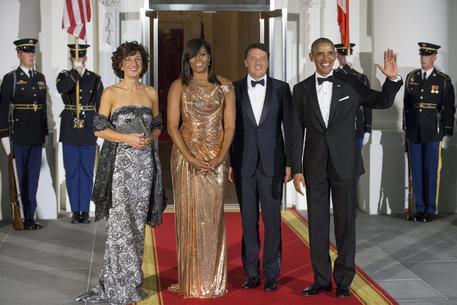 Barack Obama, Michelle Obama , Matteo Renzi e la moglie Agnese Landini © EPA