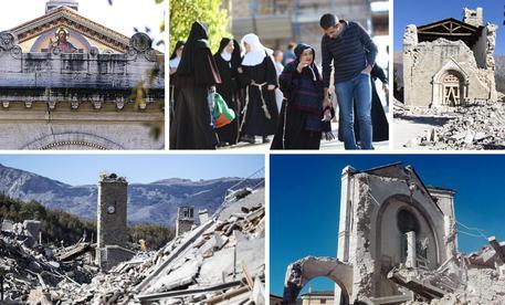 Una combo di immagini dei danni del terremoto © ANSA