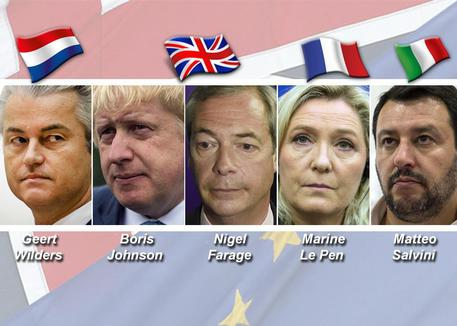 Geert Wilders, Boris Johnson, Nigel Farage, Marine Le Pen, Matteo Salvini © ANSA