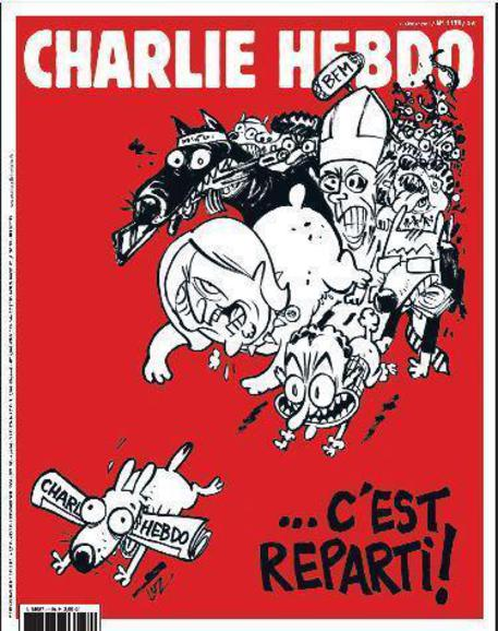 La copertina di un numero di Charlie Hebdo, il secondo dopo l'attentato del 7 gennaio © ANSA