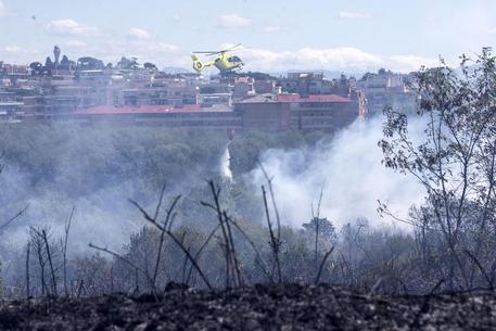 Roma, incendio nel Parco del Pineto chiuse alcune strade