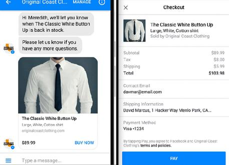 Facebook Messenger permetterà di pagare tramite i bot