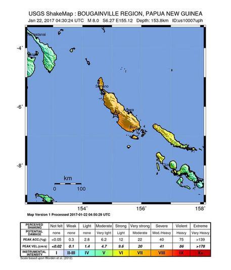 Terremoti: scossa di magnitudo 8 in Papua Nuova Guinea, rischio tsunami