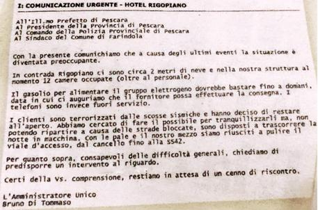 Rigopiano: mail hotel a autorita', preparate intervento © ANSA
