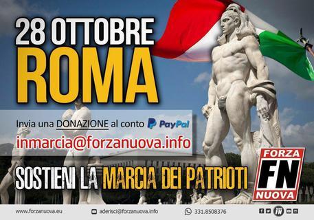 Il preavviso della 'marcia dei patrioti' annunciata da Forza Nuova sulla propria pagina Fb per il prossimo 28 ottobre © ANSA