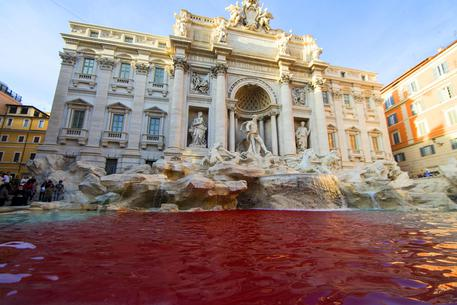 Protester turns Rome's Trevi Fountain into red lake