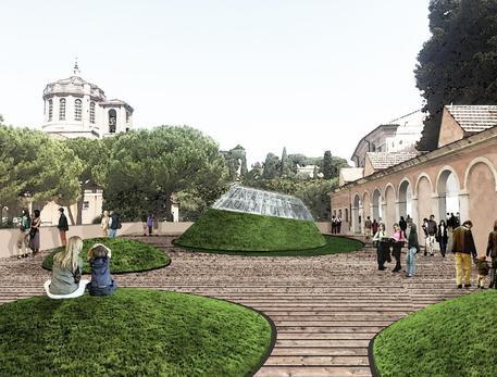 Villa Giulia, suggestione per ristorante sulla terrazza  (studi fattibilità del gruppo prof.Andrea Grimaldi, Dipartimento Architettura e progetto Sapienza) © ANSA