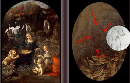 Un cane al guinzaglio nella Vergine delle rocce