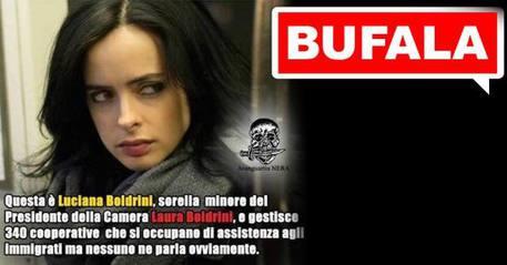 La 'bufala' sulla sorella della Boldrini (foto presa dal profilo Facebook della presidente della Camera) © Ansa