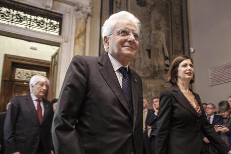 Il presidente della Repubblica Sergio Mattarella e della Camera Laura Boldrini © ANSA