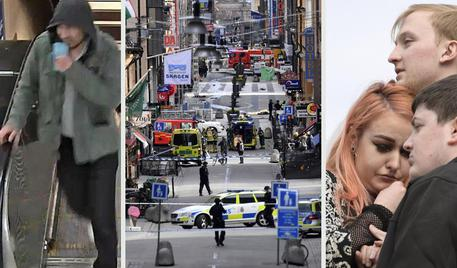 Una combo sull'attentato terroristico a Stoccolma, a sinistra la foto del sospetto attentatore diffusa dalla polizia svedese © ANSA
