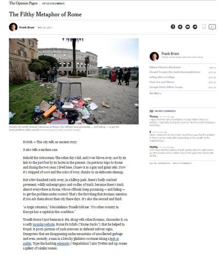 Rifiuti, anche per il New York Times ....Roma fa schifo
