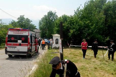 Il luogo del grave incidente durante il Rally Citta' di Torino a Coassolo © ANSA