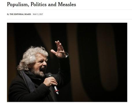 L'editoriale su M5s da  www.nytimes.com © Ansa