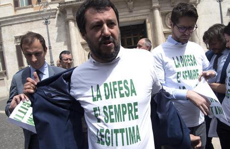 Matteo Salvini ieri davanti a Montecitorio © ANSA